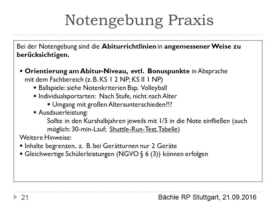 Bächle RP Stuttgart, 21.09.2016 Notengebung Praxis 21 Bei der Notengebung sind die Abiturrichtlinien in angemessener Weise zu berücksichtigen.