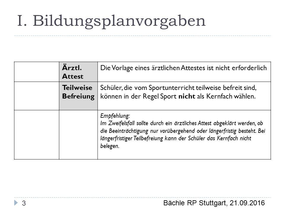 Bächle RP Stuttgart, 21.09.2016 I. Bildungsplanvorgaben Ärztl.