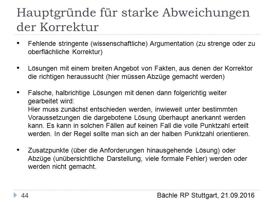 Bächle RP Stuttgart, 21.09.2016 Hauptgründe für starke Abweichungen der Korrektur 44 Fehlende stringente (wissenschaftliche) Argumentation (zu strenge oder zu oberflächliche Korrektur) Lösungen mit einem breiten Angebot von Fakten, aus denen der Korrektor die richtigen heraussucht (hier müssen Abzüge gemacht werden) Falsche, halbrichtige Lösungen mit denen dann folgerichtig weiter gearbeitet wird: Hier muss zunächst entschieden werden, inwieweit unter bestimmten Voraussetzungen die dargebotene Lösung überhaupt anerkannt werden kann.