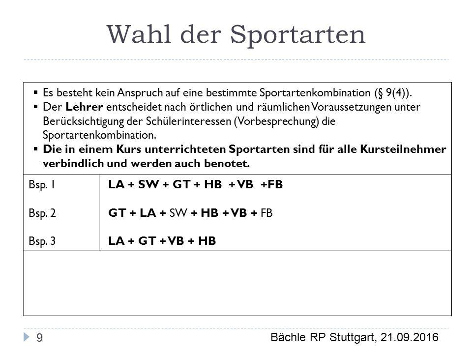 Bächle RP Stuttgart, 21.09.2016 Wahl der Sportarten 9  Es besteht kein Anspruch auf eine bestimmte Sportartenkombination (§ 9(4)).