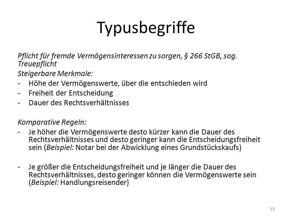 Typusbegriffe Pflicht für fremde Vermögensinteressen zu sorgen, § 266 StGB, sog.