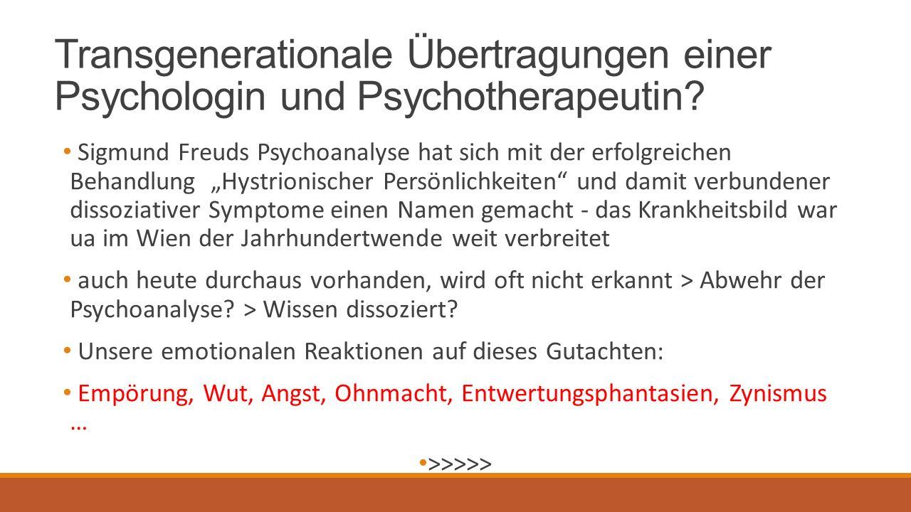 Transgenerationale Übertragungen einer Psychologin und Psychotherapeutin.