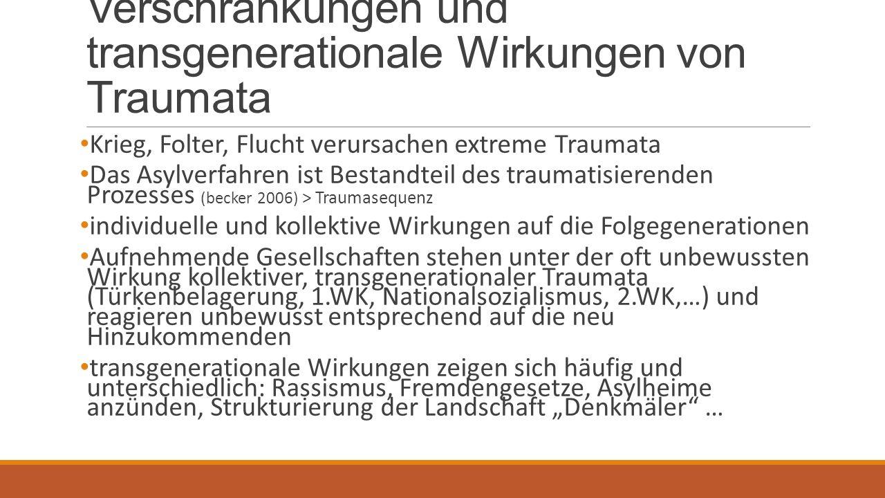 """Verschränkungen und transgenerationale Wirkungen von Traumata Krieg, Folter, Flucht verursachen extreme Traumata Das Asylverfahren ist Bestandteil des traumatisierenden Prozesses (becker 2006) > Traumasequenz individuelle und kollektive Wirkungen auf die Folgegenerationen Aufnehmende Gesellschaften stehen unter der oft unbewussten Wirkung kollektiver, transgenerationaler Traumata (Türkenbelagerung, 1.WK, Nationalsozialismus, 2.WK,…) und reagieren unbewusst entsprechend auf die neu Hinzukommenden transgenerationale Wirkungen zeigen sich häufig und unterschiedlich: Rassismus, Fremdengesetze, Asylheime anzünden, Strukturierung der Landschaft """"Denkmäler …"""
