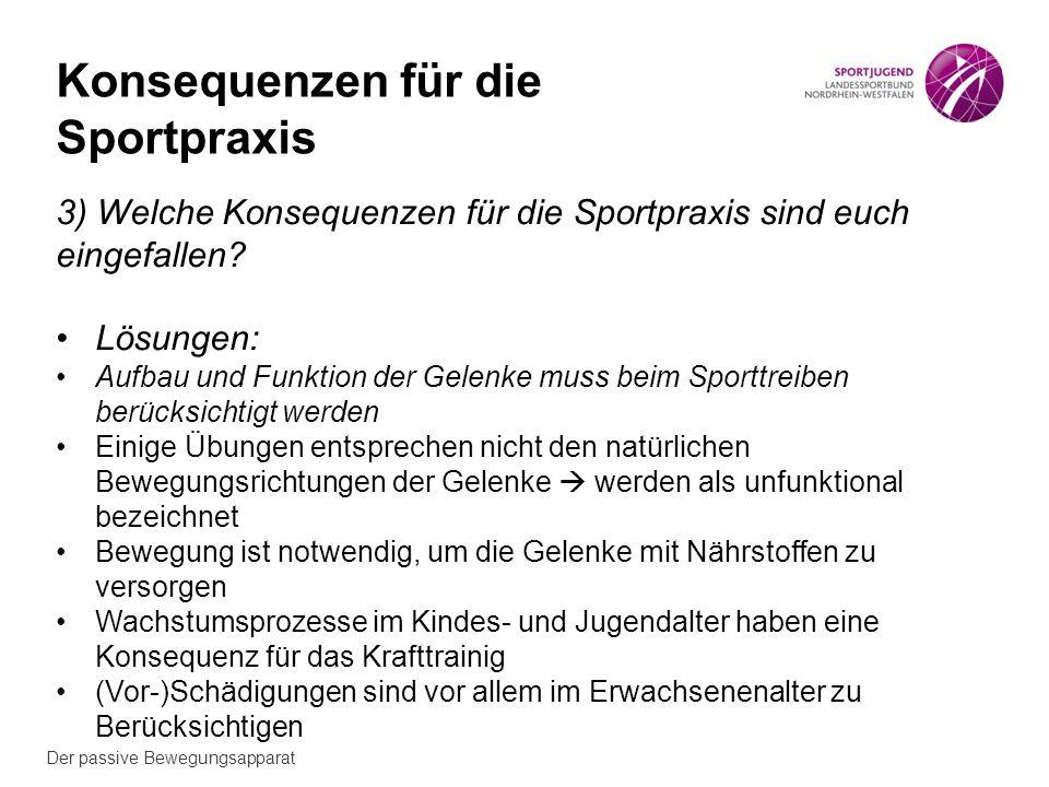 Der passive Bewegungsapparat Konsequenzen für die Sportpraxis 3) Welche Konsequenzen für die Sportpraxis sind euch eingefallen.