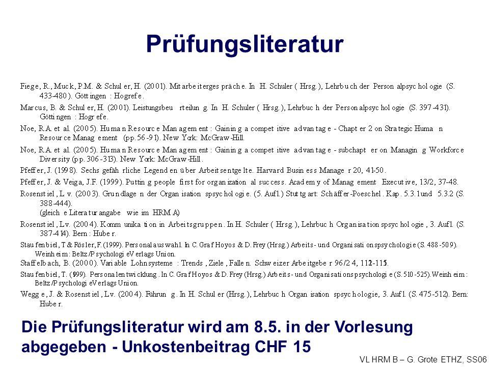 VL HRM B – G. Grote ETHZ, SS06 Prüfungsliteratur Die Prüfungsliteratur wird am 8.5.