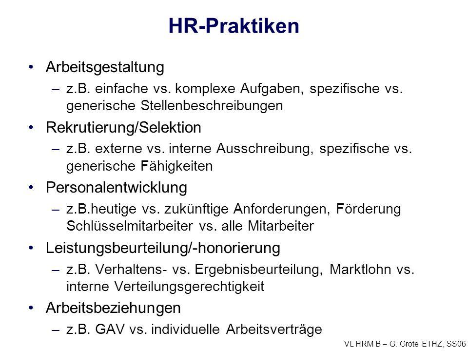 VL HRM B – G. Grote ETHZ, SS06 HR-Praktiken Arbeitsgestaltung –z.B.