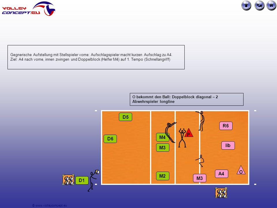 © www.volleyconcept.eu D1 D6 D5 R6 P lib A4 M3 M4 M3 M2 Gegnerische Aufstellung mit Stellspieler vorne: Aufschlagspieler macht kurzen Aufschlag zu A4.