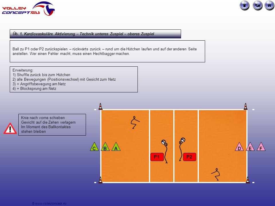 © www.volleyconcept.eu Ball zu P1 oder P2 zurückspielen – rückwärts zurück – rund um die Hütchen laufen und auf der anderen Seite anstellen.