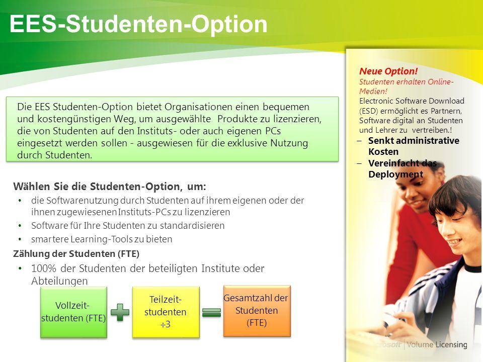 EES-Studenten-Option Wählen Sie die Studenten-Option, um: die Softwarenutzung durch Studenten auf ihrem eigenen oder der ihnen zugewiesenen Instituts-PCs zu lizenzieren Software für Ihre Studenten zu standardisieren smartere Learning-Tools zu bieten Zählung der Studenten (FTE) 100% der Studenten der beteiligten Institute oder Abteilungen Vollzeit- studenten (FTE) Vollzeit- studenten (FTE) Teilzeit- studenten  3 Teilzeit- studenten  3 Gesamtzahl der Studenten (FTE) Gesamtzahl der Studenten (FTE) + = Die EES Studenten-Option bietet Organisationen einen bequemen und kostengünstigen Weg, um ausgewählte Produkte zu lizenzieren, die von Studenten auf den Instituts- oder auch eigenen PCs eingesetzt werden sollen - ausgewiesen für die exklusive Nutzung durch Studenten.