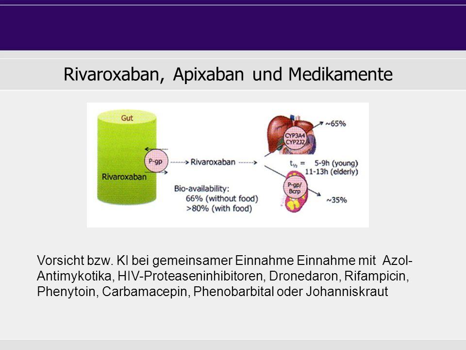 Rivaroxaban, Apixaban und Medikamente Vorsicht bzw.