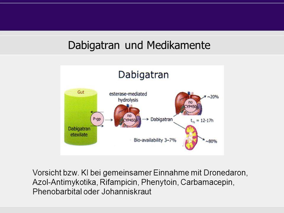Dabigatran und Medikamente Vorsicht bzw.