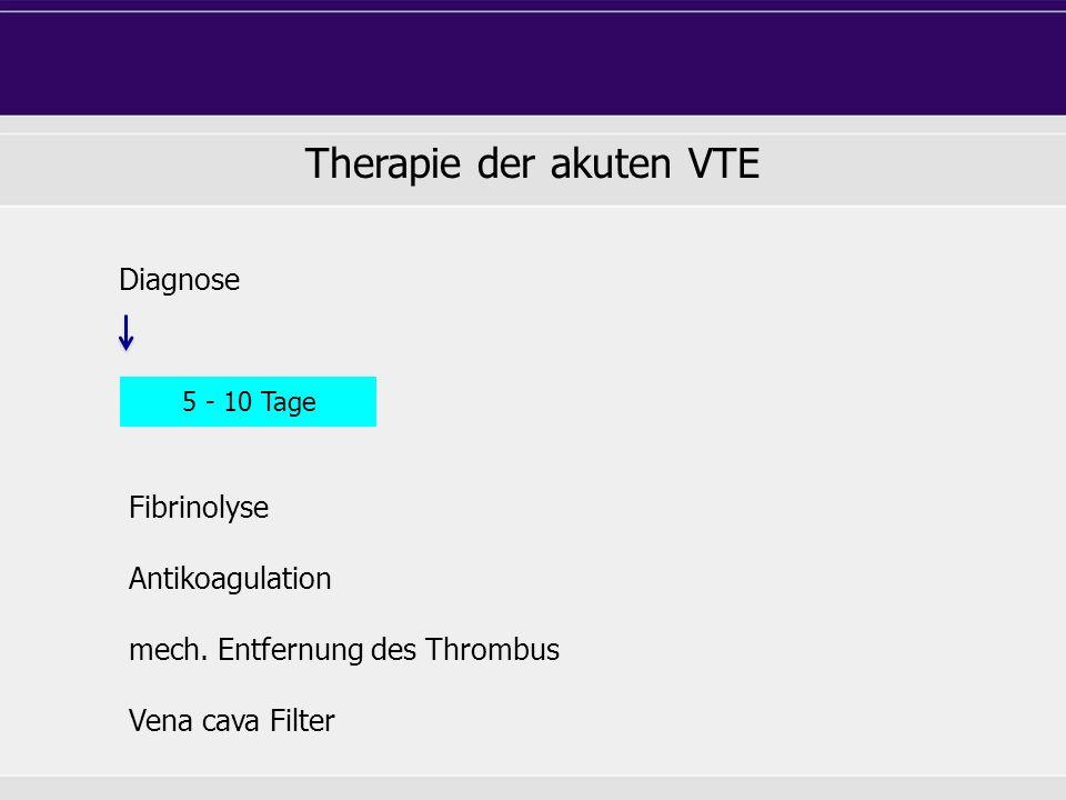 Diagnose 5 - 10 Tage Fibrinolyse Antikoagulation mech.