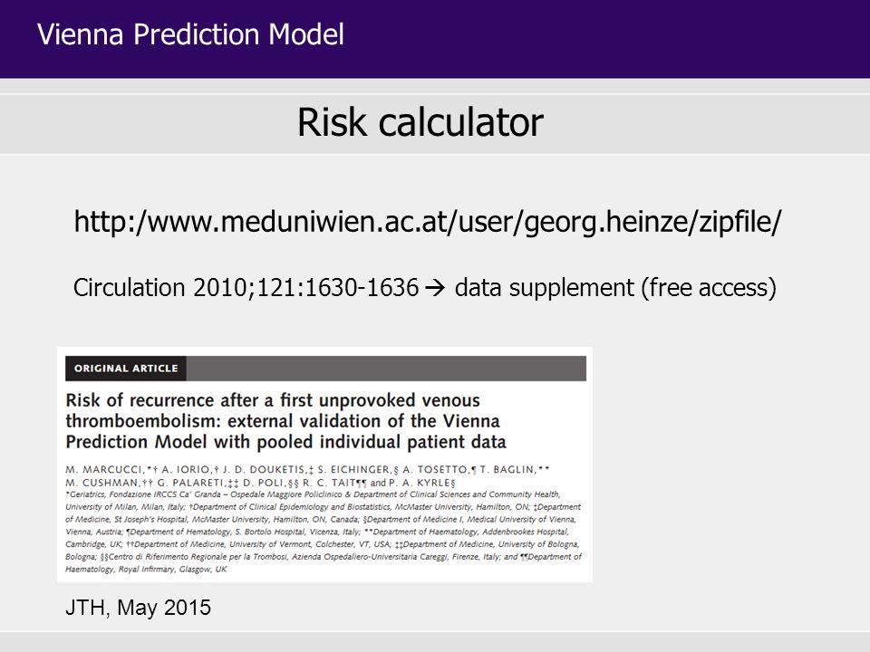 http:/www.meduniwien.ac.at/user/georg.heinze/zipfile/ Circulation 2010;121:1630-1636  data supplement (free access) Risk calculator Vienna Prediction Model JTH, May 2015