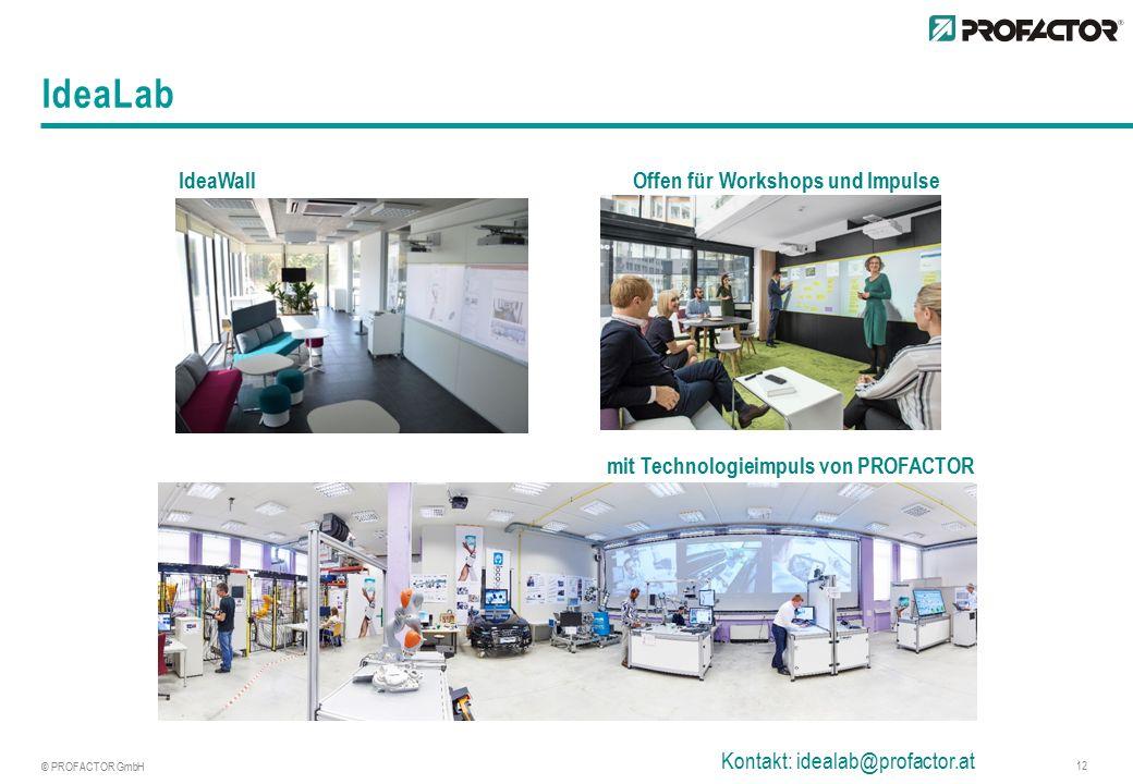 © PROFACTOR GmbH 12 IdeaLab IdeaWall Offen für Workshops und Impulse mit Technologieimpuls von PROFACTOR Kontakt: idealab@profactor.at