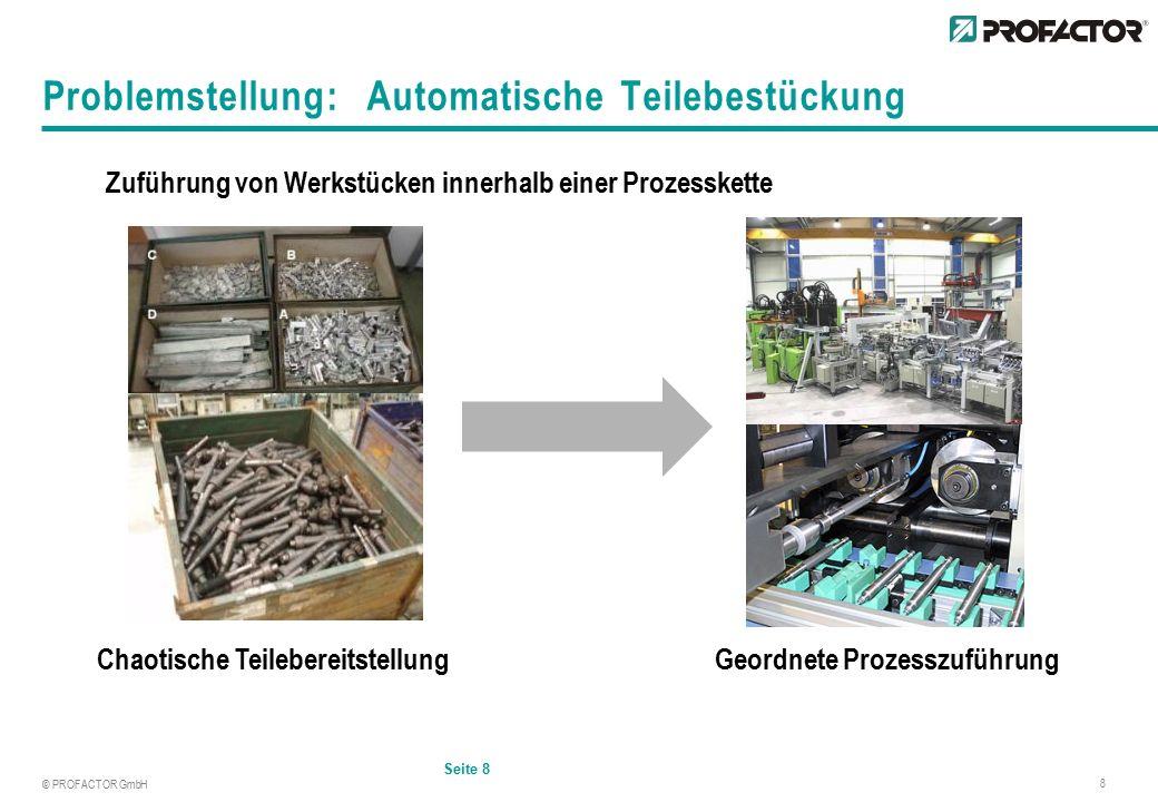 © PROFACTOR GmbH 8 Problemstellung: Automatische Teilebestückung Seite 8 Zuführung von Werkstücken innerhalb einer Prozesskette Chaotische TeilebereitstellungGeordnete Prozesszuführung