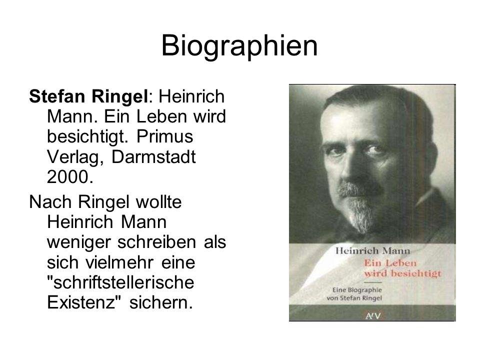 Biographien Stefan Ringel: Heinrich Mann. Ein Leben wird besichtigt.