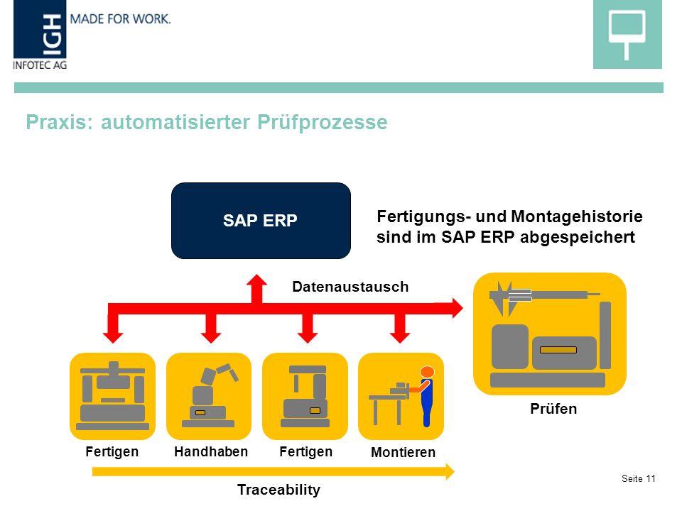 Praxis: automatisierter Prüfprozesse Seite 11 Fertigen Handhaben Montieren Prüfen SAP ERP Datenaustausch Fertigungs- und Montagehistorie sind im SAP ERP abgespeichert Traceability