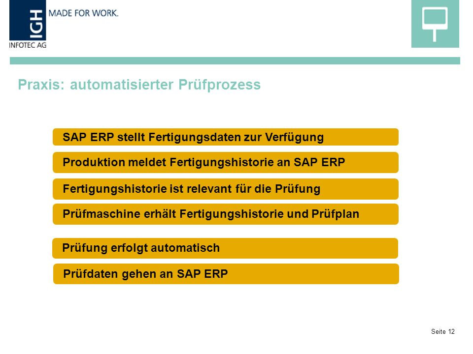Praxis: automatisierter Prüfprozess Seite 12 SAP ERP stellt Fertigungsdaten zur Verfügung Produktion meldet Fertigungshistorie an SAP ERPPrüfmaschine erhält Fertigungshistorie und PrüfplanFertigungshistorie ist relevant für die PrüfungPrüfung erfolgt automatischPrüfdaten gehen an SAP ERP