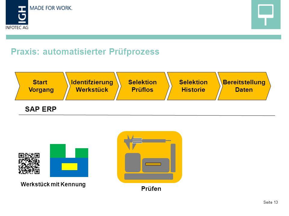 Praxis: automatisierter Prüfprozess Seite 13 Prüfen Start Vorgang Selektion Prüflos Selektion Historie Werkstück mit Kennung Bereitstellung Daten Identifzierung Werkstück SAP ERP