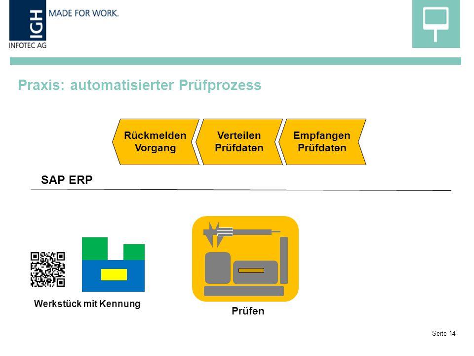 Praxis: automatisierter Prüfprozess Seite 14 Prüfen Werkstück mit Kennung Rückmelden Vorgang Verteilen Prüfdaten Empfangen Prüfdaten SAP ERP