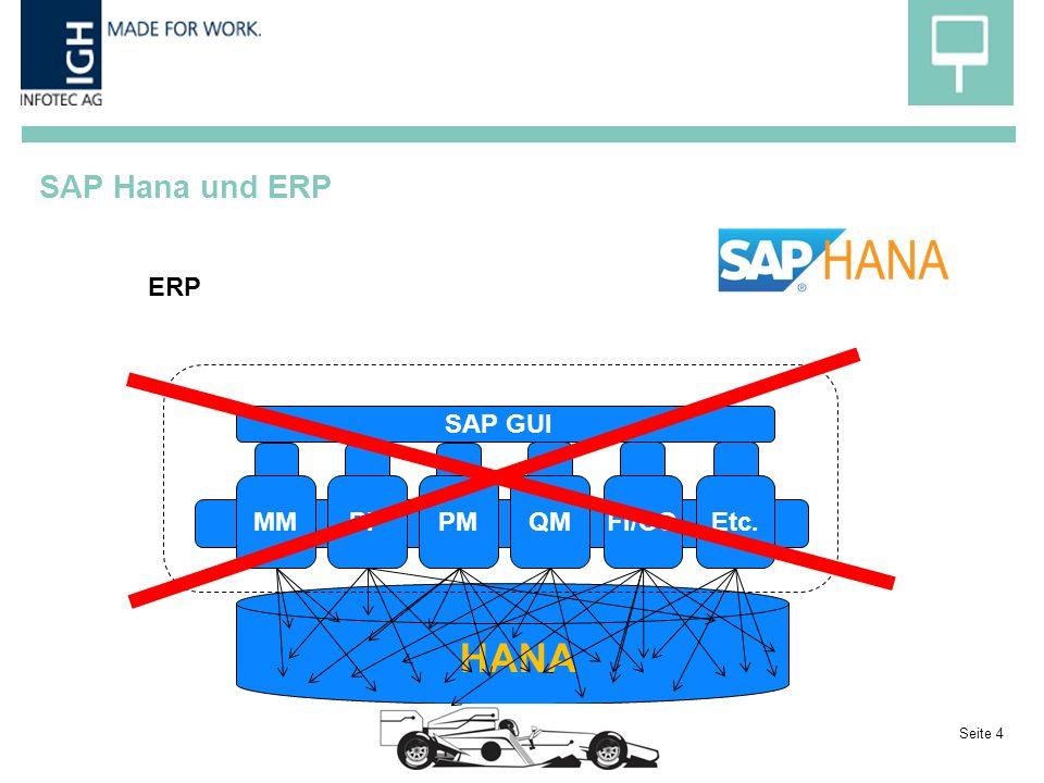 SAP Hana und ERP Seite 4 HANA MM PPPMQMFI/COEtc. SAP GUI ERP
