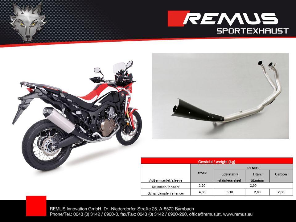 Gewicht / weight (kg) Außenmantel / sleeve stock REMUS Edelstahl /Titan /Carbon stainless steeltitanium Krümmer / header 3,203,00 Schalldämpfer / silencer 4,803,102,80