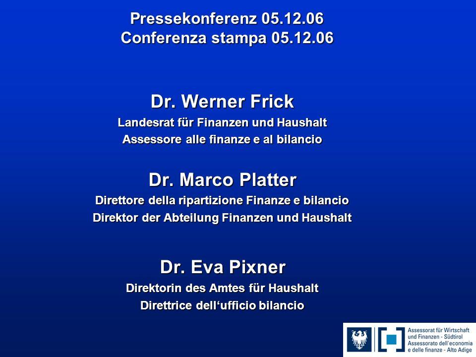 Pressekonferenz 05.12.06 Conferenza stampa 05.12.06 Dr.