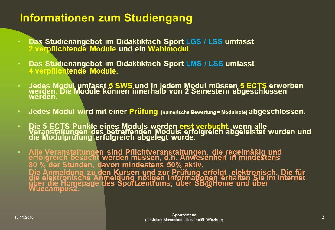Sportzentrum der Julius-Maximilians-Universität Würzburg 15.11.20162 Informationen zum Studiengang Das Studienangebot im Didaktikfach Sport LGS / LSS umfasst 2 verpflichtende Module und ein Wahlmodul.