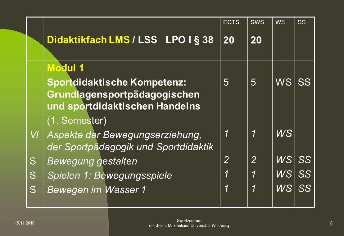 Sportzentrum der Julius-Maximilians-Universität Würzburg Didaktikfach LMS / LSS LPO I § 38 ECTS 20 SWS 20 WSSS Vl S Modul 1 Sportdidaktische Kompetenz: Grundlagensportpädagogischen und sportdidaktischen Handelns (1.