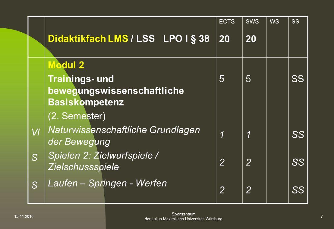 Sportzentrum der Julius-Maximilians-Universität Würzburg Didaktikfach LMS / LSS LPO I § 38 ECTS 20 SWS 20 WSSS Vl S Modul 2 Trainings- und bewegungswissenschaftliche Basiskompetenz (2.