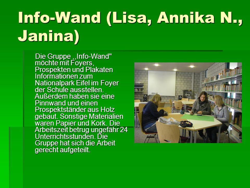 Info-Wand (Lisa, Annika N., Janina) Die Gruppe,,Info-Wand möchte mit Foyers, Prospekten und Plakaten Informationen zum Nationalpark Eifel im Foyer der Schule ausstellen.