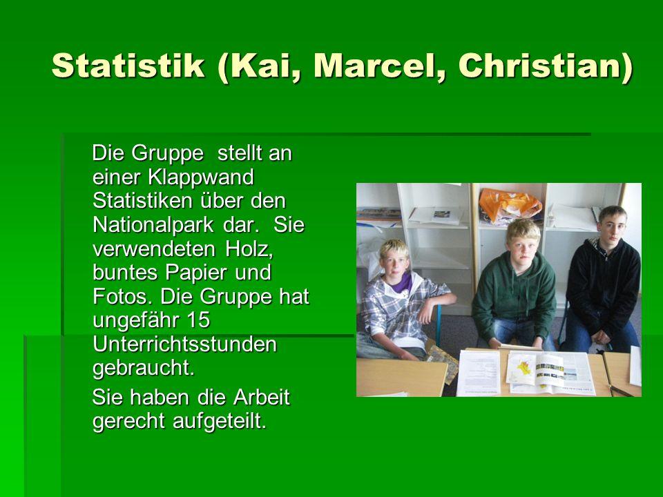 Statistik (Kai, Marcel, Christian) Statistik (Kai, Marcel, Christian) Die Gruppe stellt an einer Klappwand Statistiken über den Nationalpark dar.