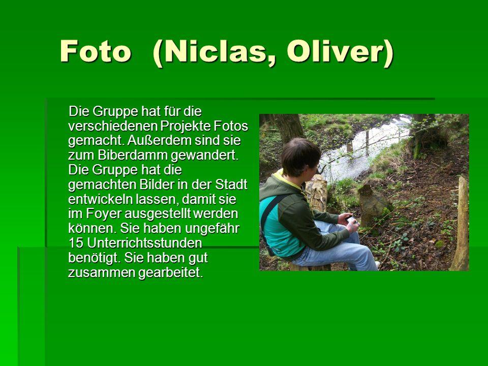 Foto (Niclas, Oliver) Foto (Niclas, Oliver) Die Gruppe hat für die verschiedenen Projekte Fotos gemacht.