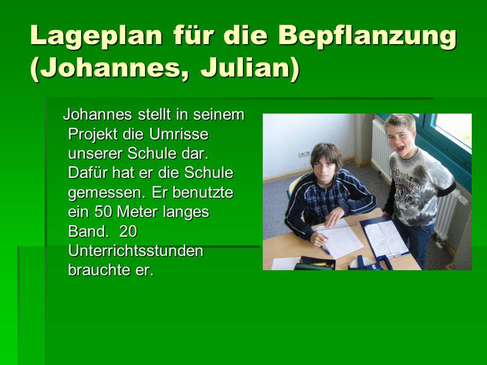 Lageplan für die Bepflanzung (Johannes, Julian) Johannes stellt in seinem Projekt die Umrisse unserer Schule dar.