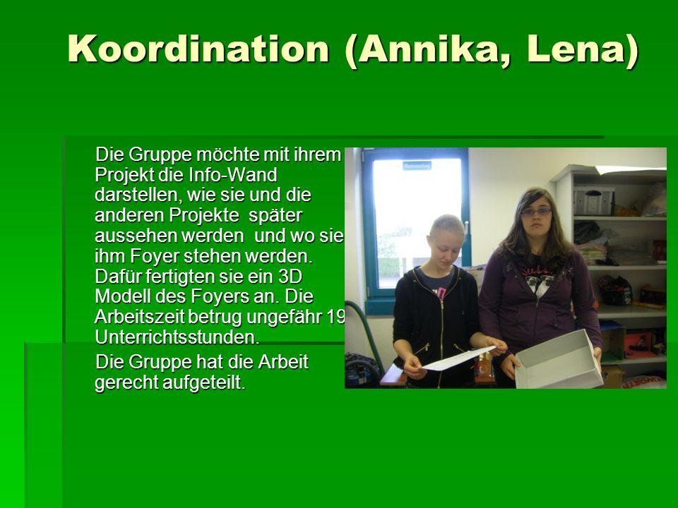 Koordination (Annika, Lena) Koordination (Annika, Lena) Die Gruppe möchte mit ihrem Projekt die Info-Wand darstellen, wie sie und die anderen Projekte später aussehen werden und wo sie ihm Foyer stehen werden.
