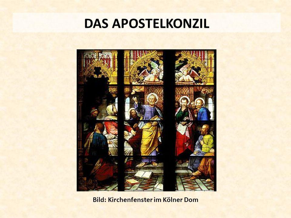 DAS APOSTELKONZIL Bild: Kirchenfenster im Kölner Dom