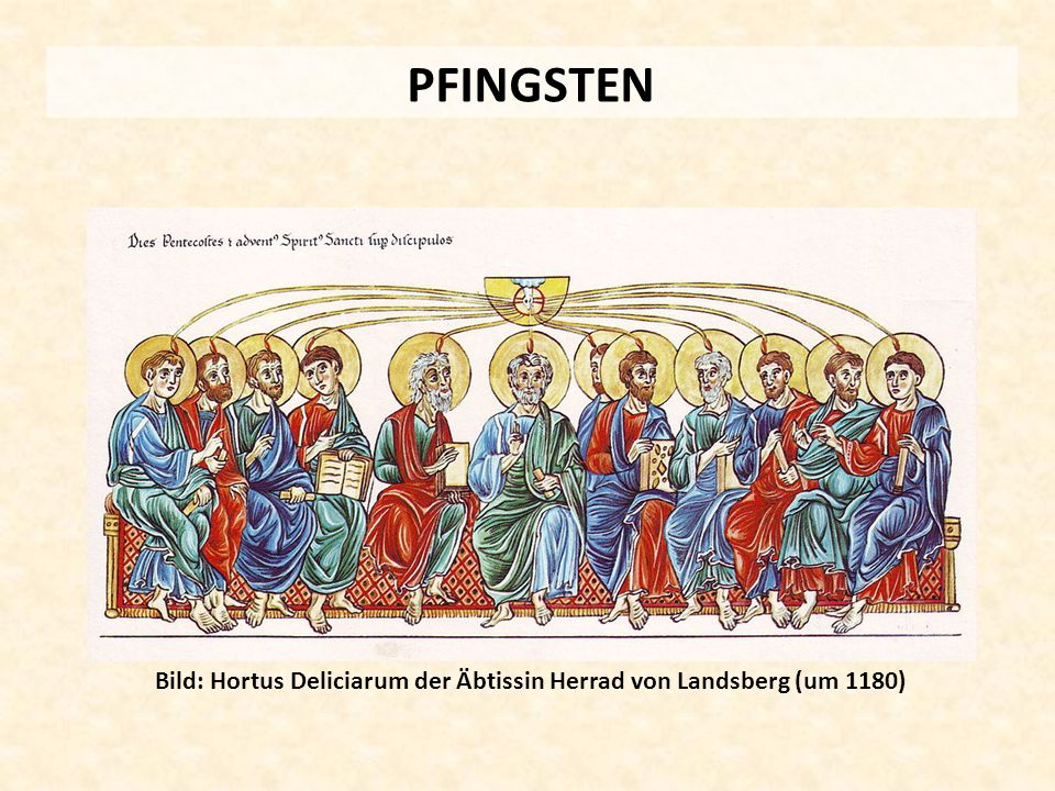 PFINGSTEN Bild: Hortus Deliciarum der Äbtissin Herrad von Landsberg (um 1180)