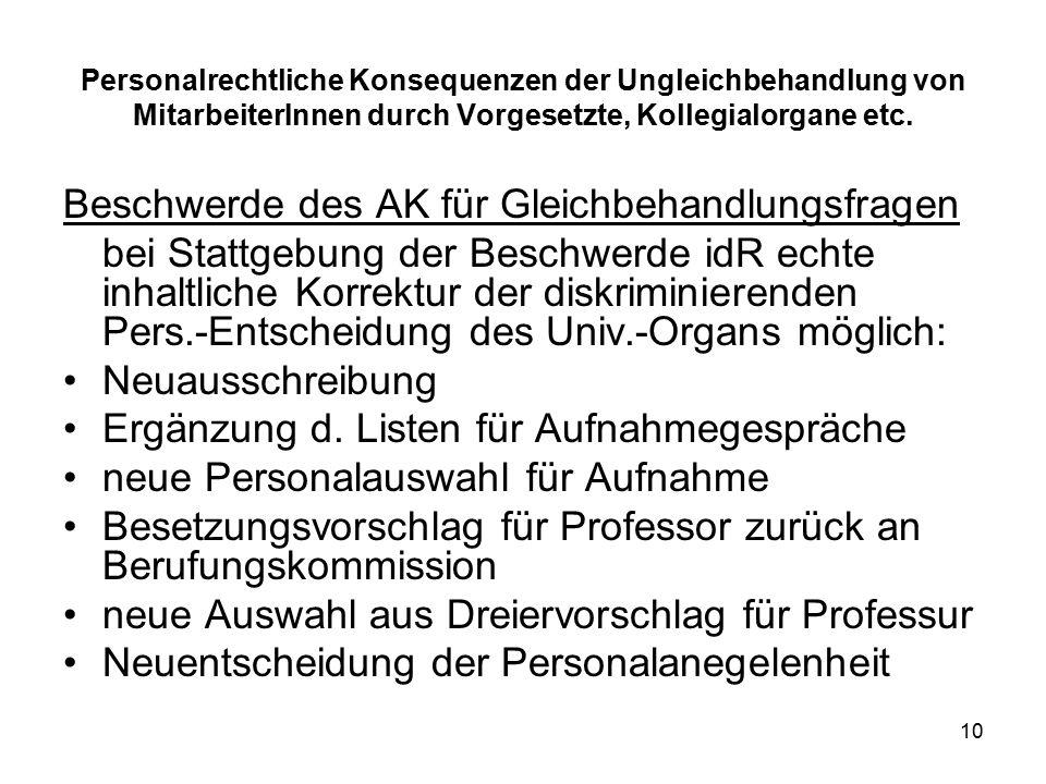 10 Personalrechtliche Konsequenzen der Ungleichbehandlung von MitarbeiterInnen durch Vorgesetzte, Kollegialorgane etc.