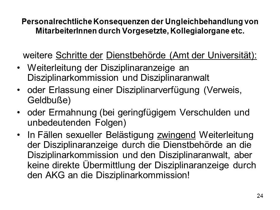 24 Personalrechtliche Konsequenzen der Ungleichbehandlung von MitarbeiterInnen durch Vorgesetzte, Kollegialorgane etc.