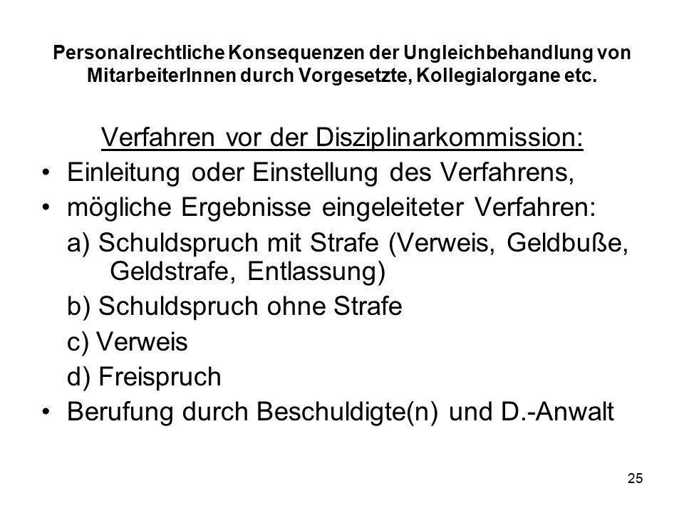 25 Personalrechtliche Konsequenzen der Ungleichbehandlung von MitarbeiterInnen durch Vorgesetzte, Kollegialorgane etc.