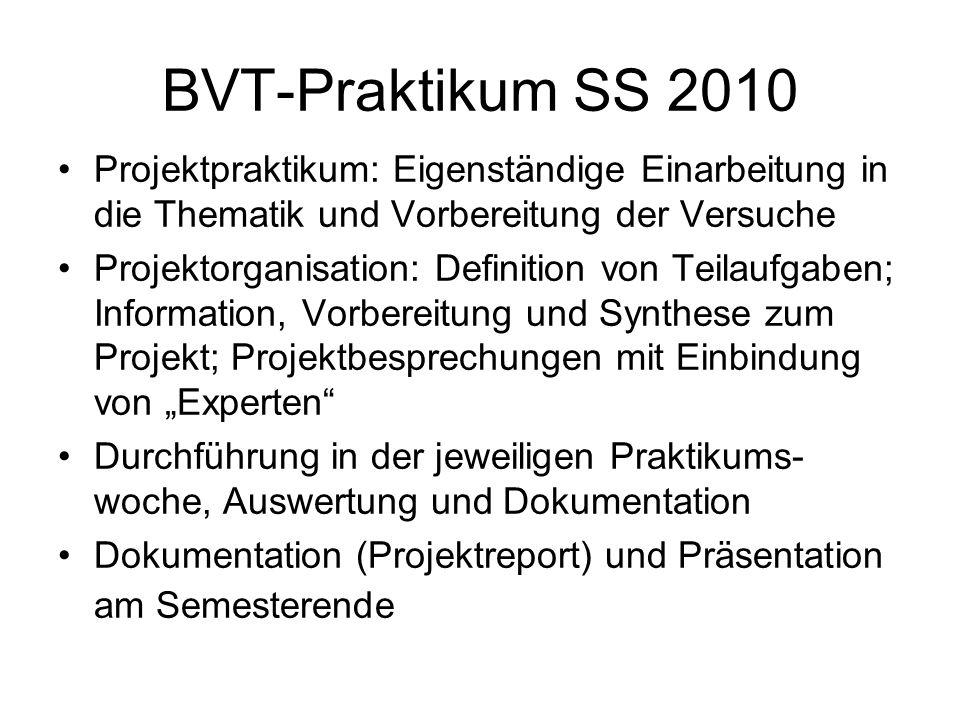 """BVT-Praktikum SS 2010 Projektpraktikum: Eigenständige Einarbeitung in die Thematik und Vorbereitung der Versuche Projektorganisation: Definition von Teilaufgaben; Information, Vorbereitung und Synthese zum Projekt; Projektbesprechungen mit Einbindung von """"Experten Durchführung in der jeweiligen Praktikums- woche, Auswertung und Dokumentation Dokumentation (Projektreport) und Präsentation am Semesterende"""