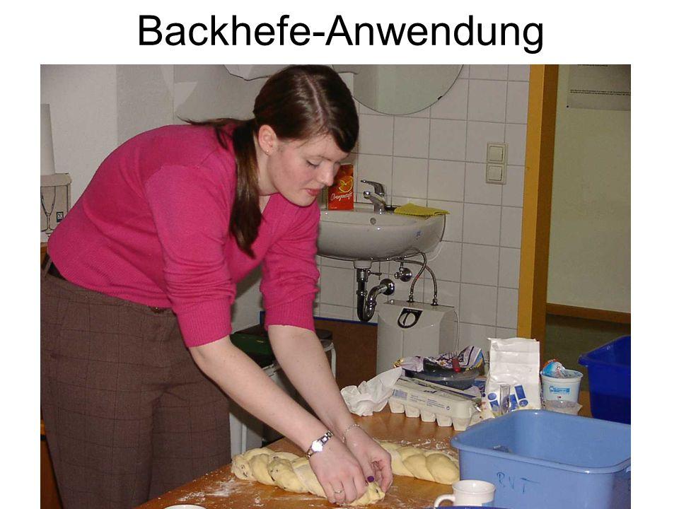 Backhefe-Anwendung