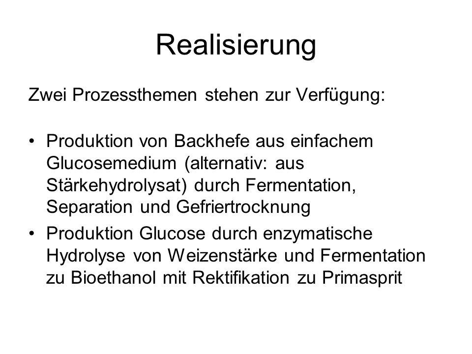 Realisierung Zwei Prozessthemen stehen zur Verfügung: Produktion von Backhefe aus einfachem Glucosemedium (alternativ: aus Stärkehydrolysat) durch Fermentation, Separation und Gefriertrocknung Produktion Glucose durch enzymatische Hydrolyse von Weizenstärke und Fermentation zu Bioethanol mit Rektifikation zu Primasprit