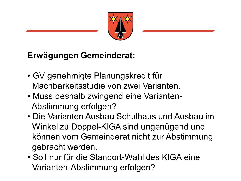 Erwägungen Gemeinderat: GV genehmigte Planungskredit für Machbarkeitsstudie von zwei Varianten.