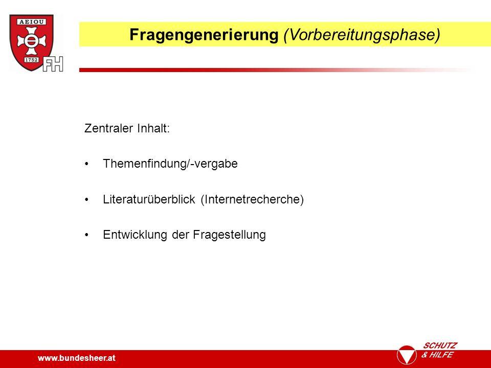 www.bundesheer.at Fragengenerierung (Vorbereitungsphase) Zentraler Inhalt: Themenfindung/-vergabe Literaturüberblick (Internetrecherche) Entwicklung der Fragestellung