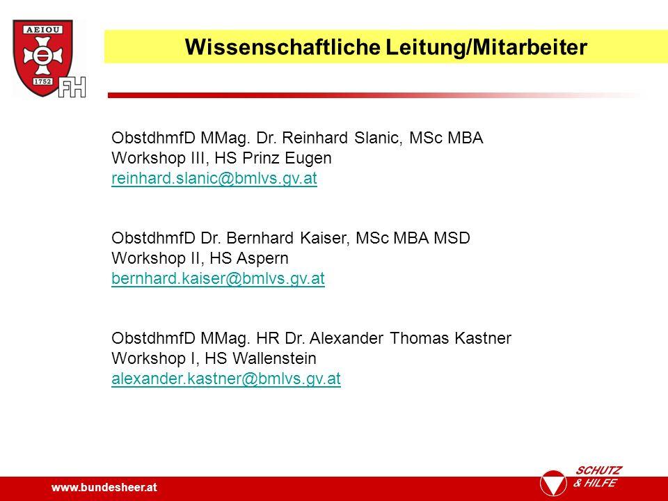Wissenschaftliche Leitung/Mitarbeiter ObstdhmfD MMag.
