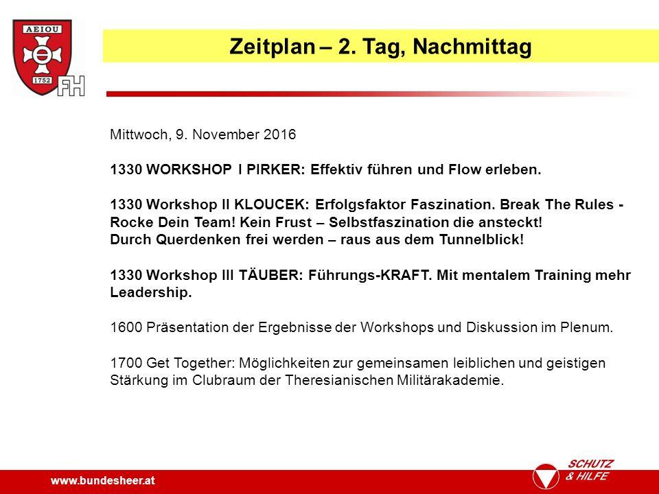 www.bundesheer.at Zeitplan – 2. Tag, Nachmittag Mittwoch, 9.
