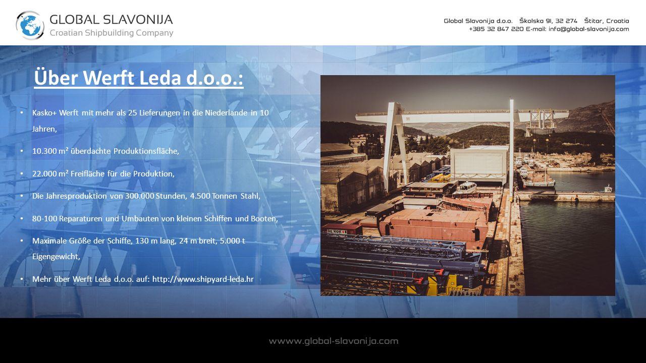 Über Werft Leda d.o.o.: Kasko+ Werft mit mehr als 25 Lieferungen in die Niederlande in 10 Jahren, 10.300 m² überdachte Produktionsfläche, 22.000 m² Freifläche für die Produktion, Die Jahresproduktion von 300.000 Stunden, 4.500 Tonnen Stahl, 80-100 Reparaturen und Umbauten von kleinen Schiffen und Booten, Maximale Größe der Schiffe, 130 m lang, 24 m breit, 5.000 t Eigengewicht, Mehr über Werft Leda d.o.o.