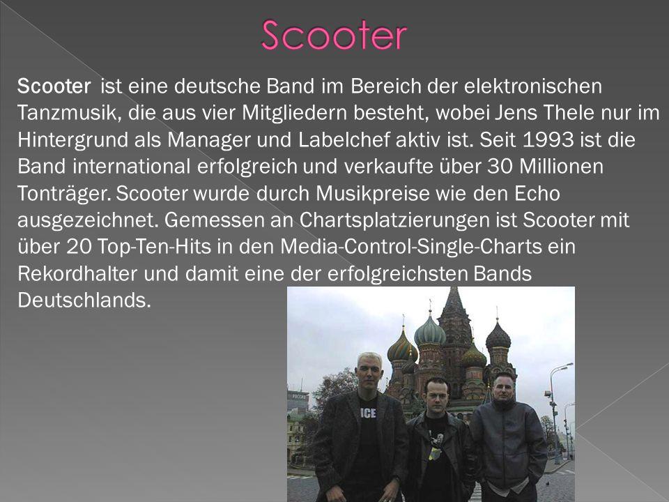 Scooter ist eine deutsche Band im Bereich der elektronischen Tanzmusik, die aus vier Mitgliedern besteht, wobei Jens Thele nur im Hintergrund als Manager und Labelchef aktiv ist.