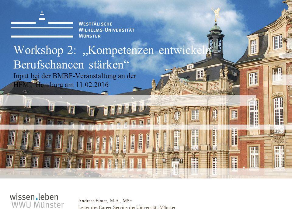 """Andreas Eimer, M.A., MSc Leiter des Career Service der Universität Münster Workshop 2: """"Kompetenzen entwickeln – Berufschancen stärken Input bei der BMBF-Veranstaltung an der HFMT Hamburg am 11.02.2016"""